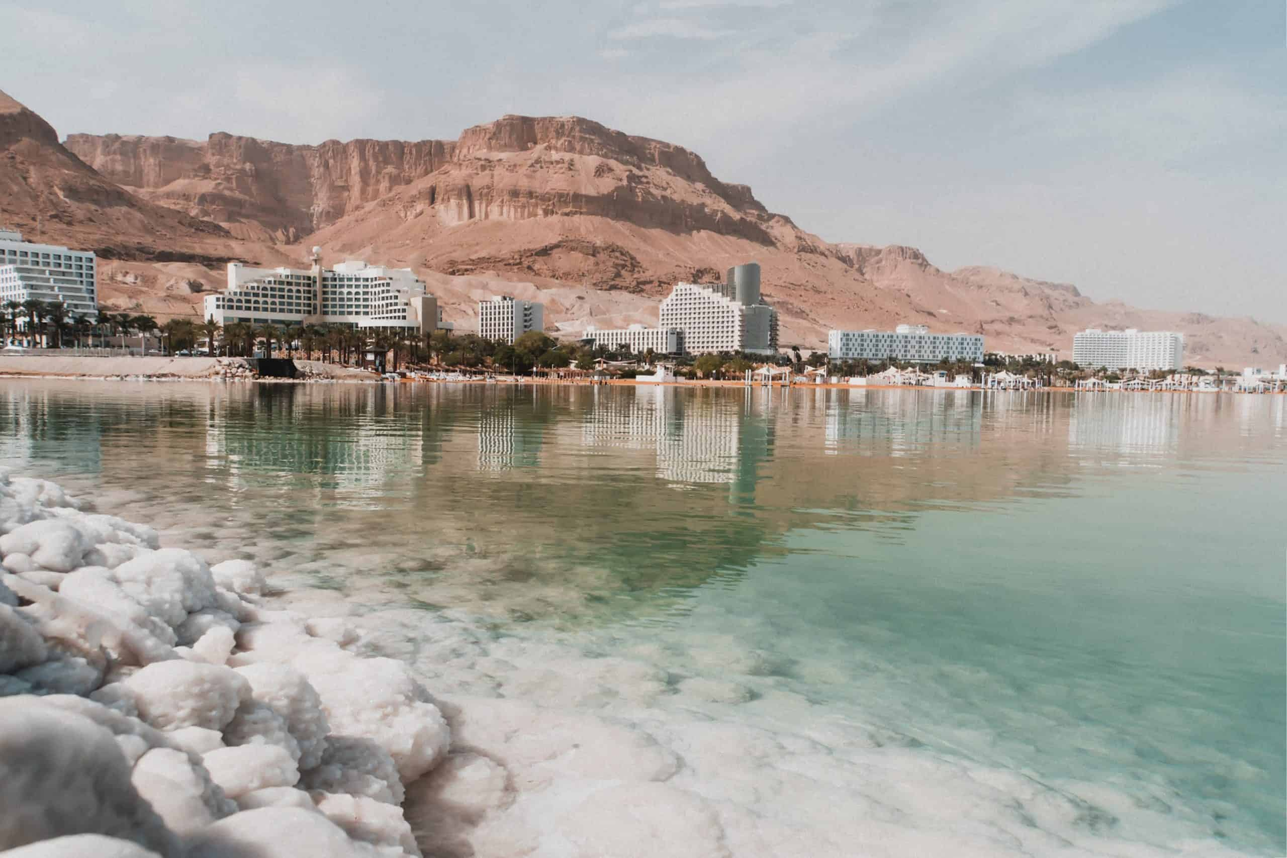 The coast and desert mountains at the Dead Sea, Israel. It is one of the most unique places to visit in Israel