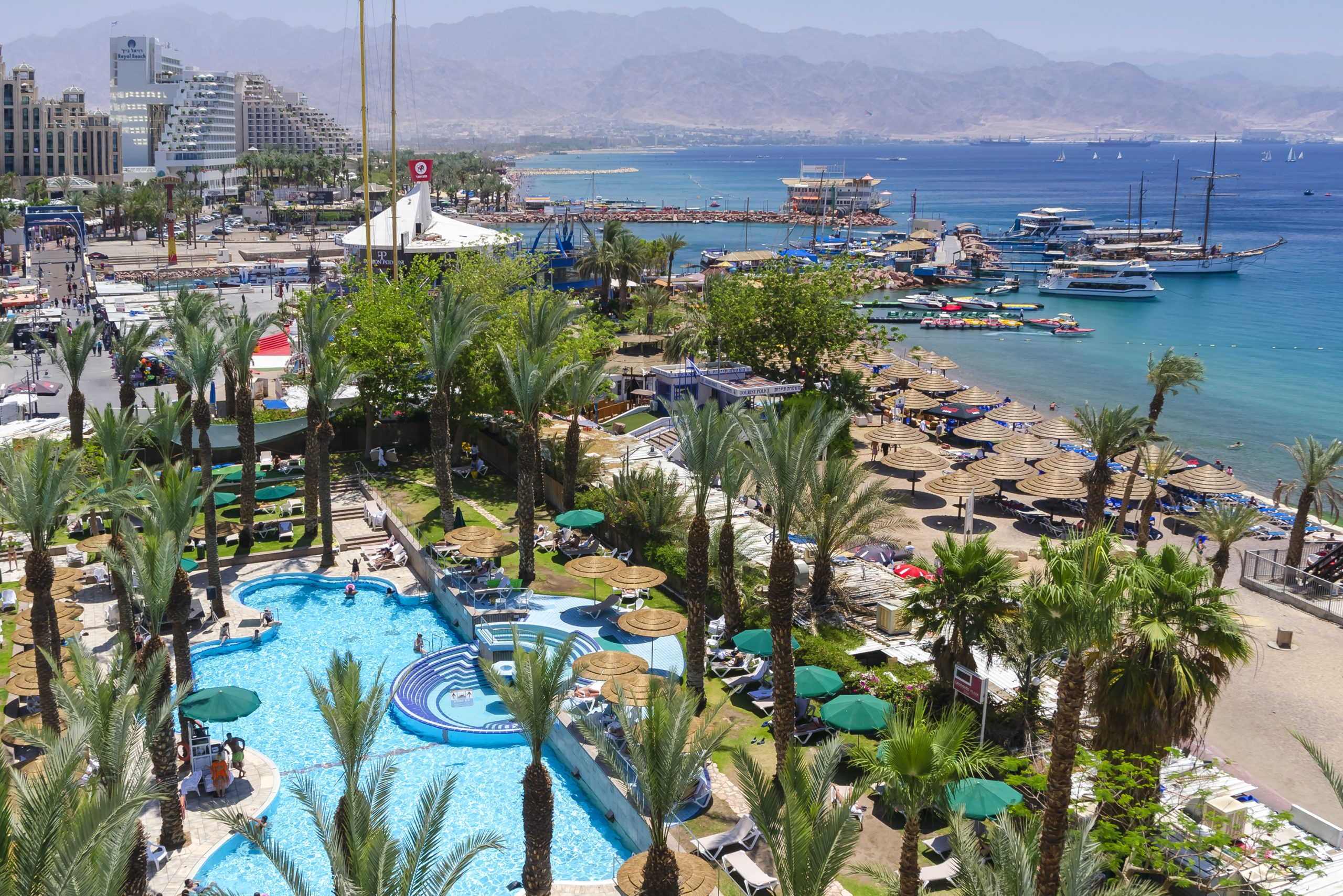 The Central beach and marina in Eilat, Israel