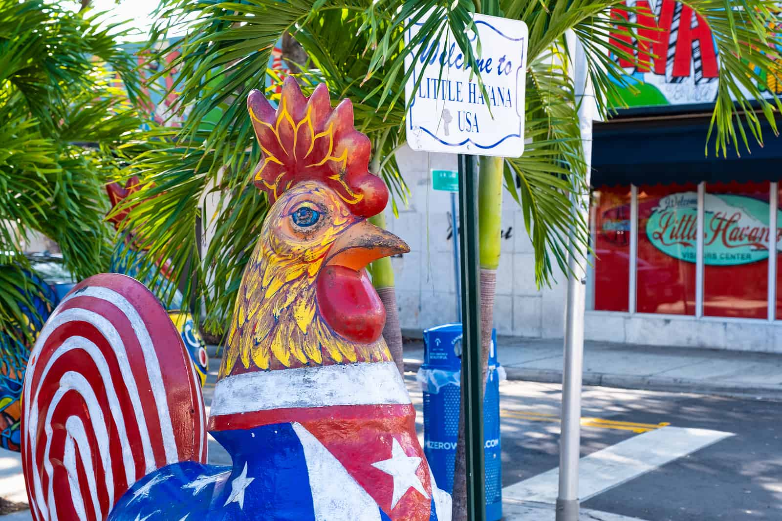 The famous rooster on Calle Ocho (8th Street), Little Havana. things to do at miami florida