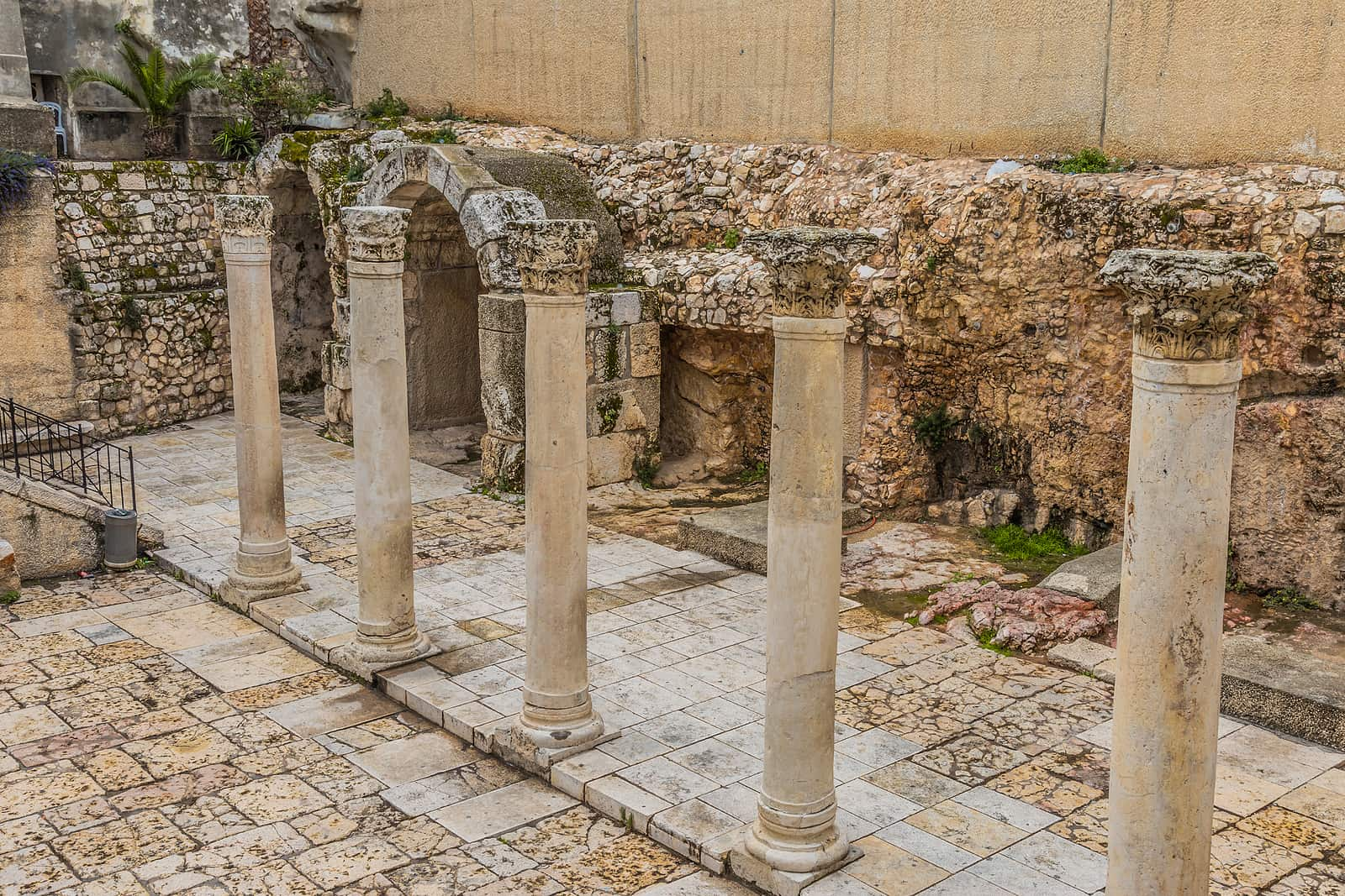 Cardo Maximus Roman Pillars. The remains of ancient Roman pillars located in the Jewish Quarter in Jerusalem Israel. one of the central places in Jerusalem in the past