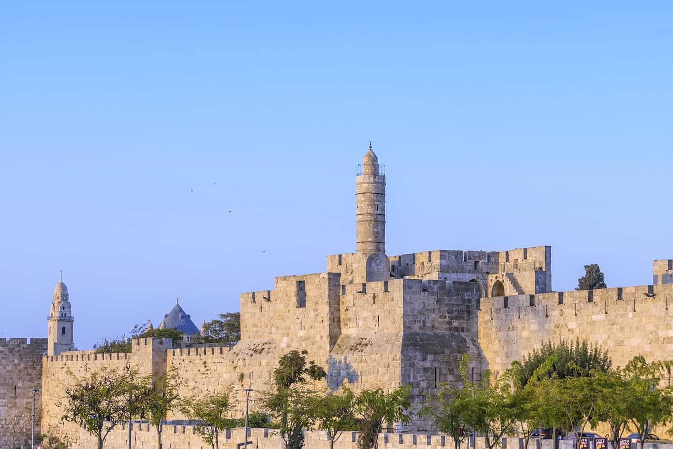 The Tower of David and the walls of the old city of Jerusalem