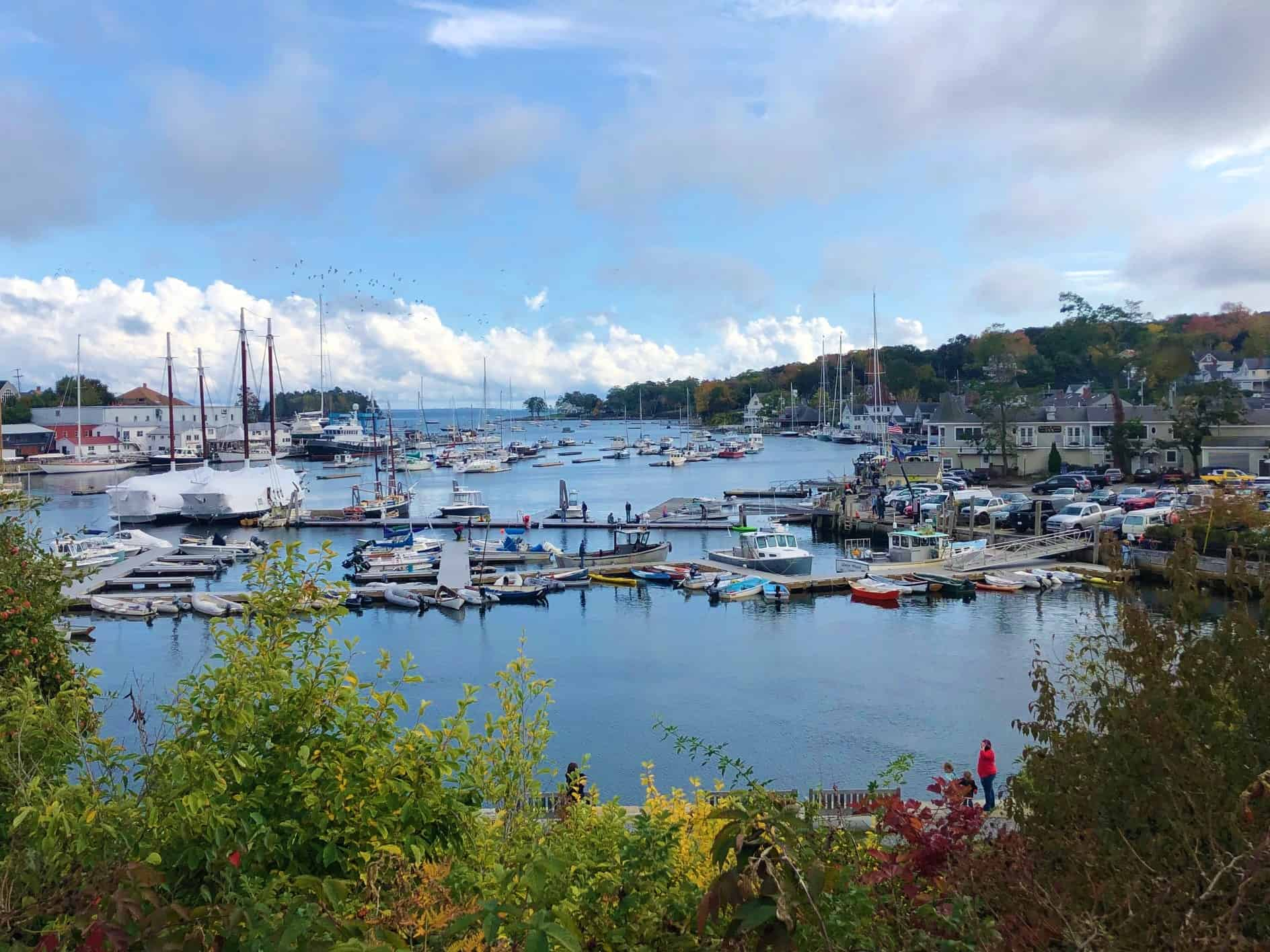 The beautiful marina of Camden, Maine. A stop in our new england road trip itinerary. best road trips new england