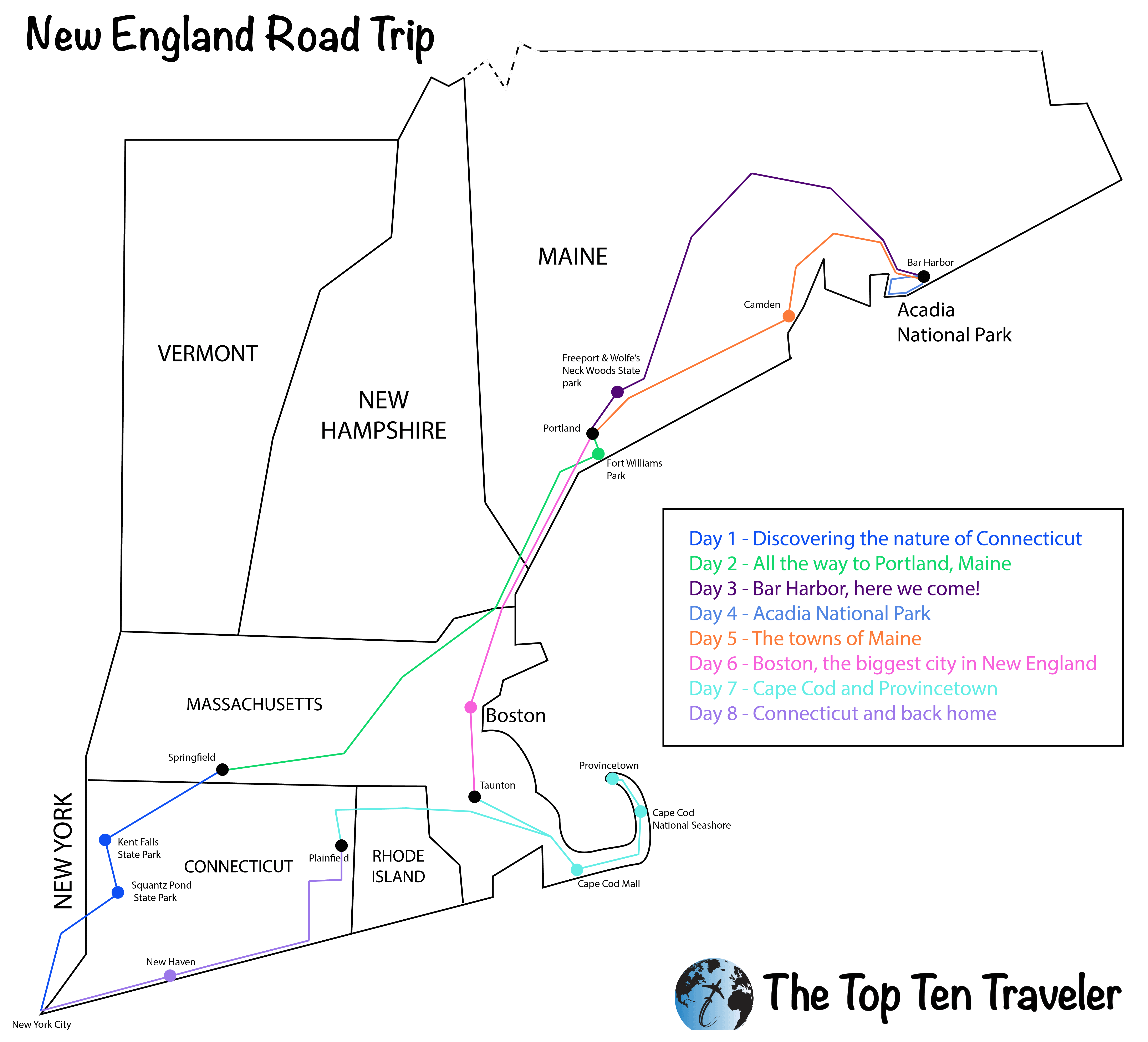 Map of New England  road trip itinerary. Road Trip Route. new england states connecticut maine massachusetts new hampshire rhode island vermont. new england road trip trip planner map